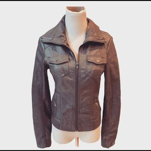 American Rag Faux Leather Gray Bomber Jacket S Zip